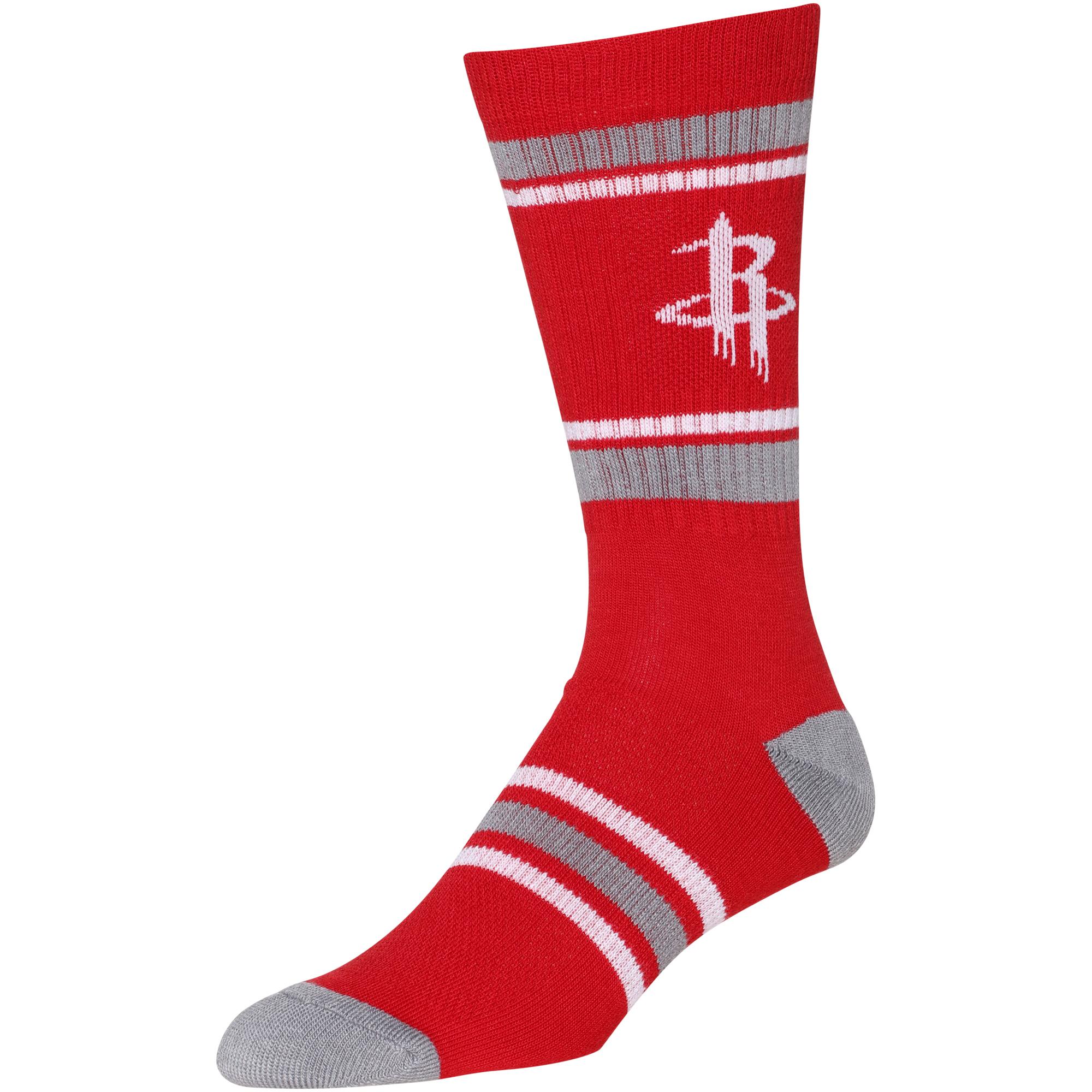 NBA Houston Rockets Men's Large Red Stripe Crew Socks Fits 6-12