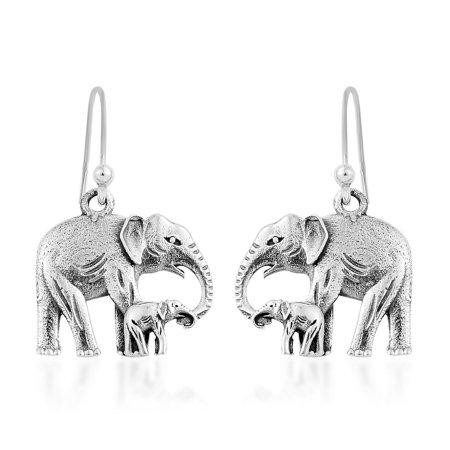 Elephant Dangle Drop Earrings Handmade 925 Sterling Silver Gift Jewelry for Women 3.86 g Sale Handmade Earrings