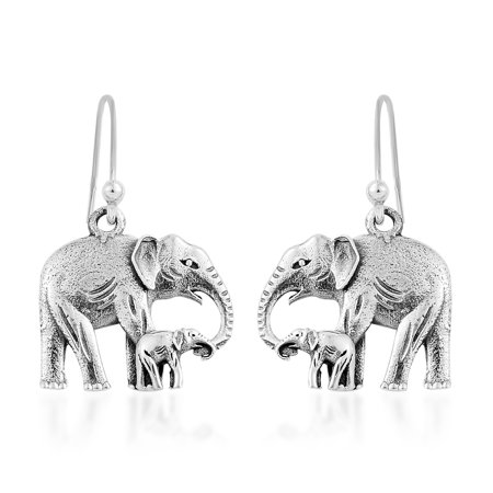 Handmade Silver Lampwork Earrings - Elephant Dangle Drop Earrings Handmade 925 Sterling Silver Jewelry for Women 3.86 g