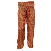 Mogul Womens Orange Harem Pant Printed Summer Boho Style Yoga Pants