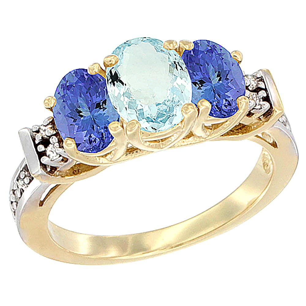 14K Yellow Gold Natural Aquamarine & Tanzanite Ring 3-Stone Oval Diamond Accent by WorldJewels
