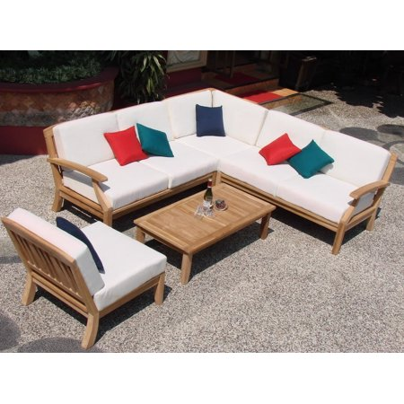WholesaleTeak Outdoor Patio Grade-A Teak Wood 5 Piece Teak Sectional Sofa Set - 2 Love Seats, 1 Lounge Chair, 1 Corner Pc & 1 Coffee Table--Furniture only-- Samurai collection #WMSSSSM2