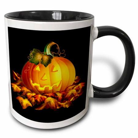 3dRose Glowing JackoLantern and Autumn leaves on Halloween night on black background - Two Tone Black Mug, 11-ounce
