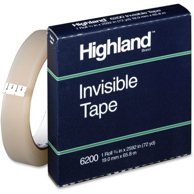 MMM6200342592 - Highland Invisible Tape, Invisible permanent mending tape. By 3M