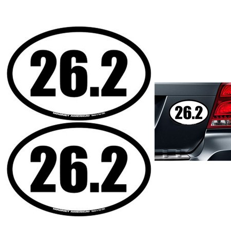 (2X 26.2 Full Marathon Vinyl Oval Decal Car Bumper Run Running Race Runner Gift)