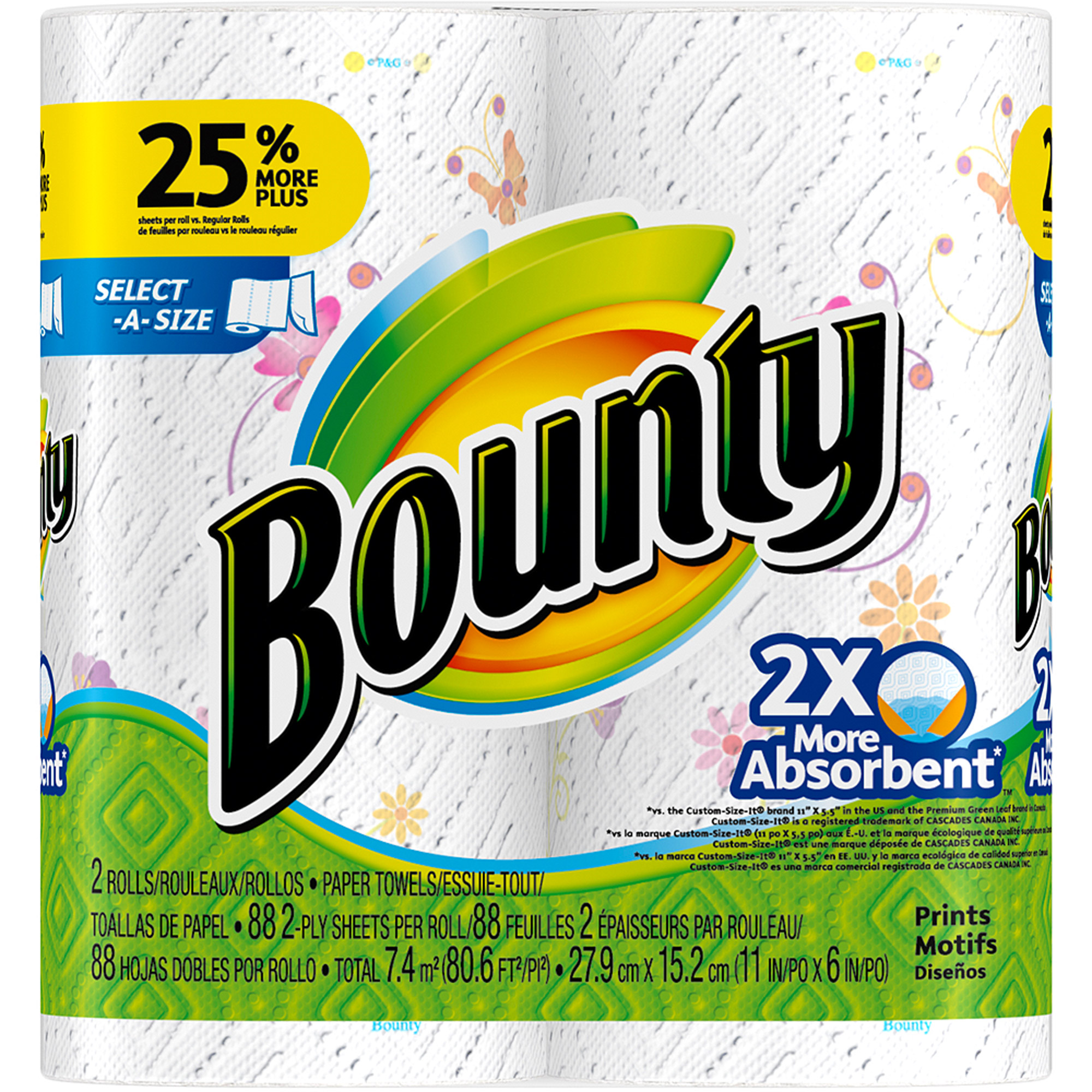 Bounty Select-A-Size Paper Towels, Print, 2 Rolls