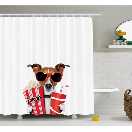 Movie Theater Shower Curtain, Funny Dog Wearing Sunglasses Watching a Movie with Popcorn and Soda Print, Fabric Bathroom Set with Hooks, Multicolor, by Ambesonne (Sunglasses Funny)