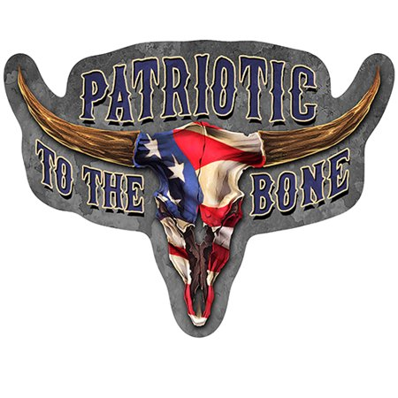 Patriotic To The Bone Novelty Sign | Indoor/Outdoor | Funny Home Décor for Garages, Living Rooms, Bedroom, Offices | SignMission personalized gift Wall Plaque -