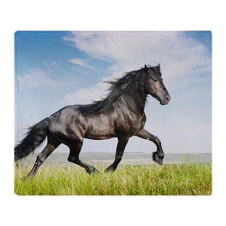 Blanket Appaloosa Horse - CafePress - Beautiful Black Horse Running Trot - Soft Fleece Throw Blanket, 50
