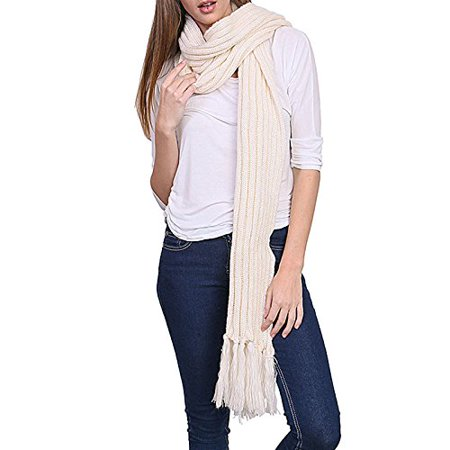 Women's Winter Warm Extra Long Stripe Knit Fringed Scarf - YS3702 (Ivory) (Black And Gray Striped Scarf)