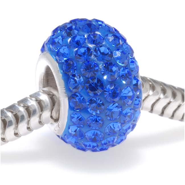 Sterling Silver Crystal Pave Bead With September Birthstone Sapphire Color - European Style (1)