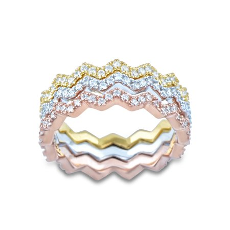 - 3 Piece Sterling Silver Tri Color Zig Zag Eternity Ring (Size 5 - 10)