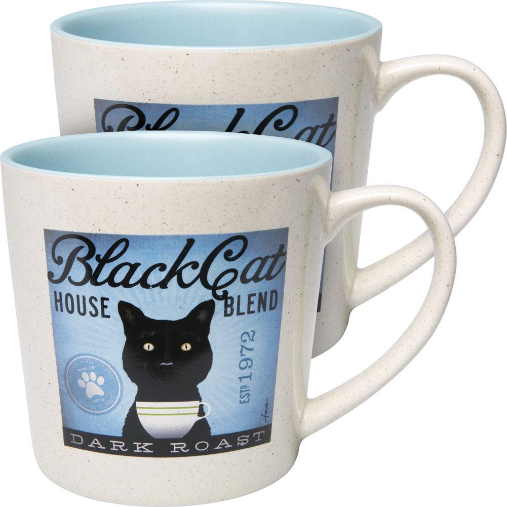 Set Of 2 Cats Rule Black Cat Stoneware Coffee Mugs 14 Oz Walmart Com