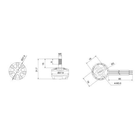 OCDAY 2205 2300KV 3-4S CW/CCW Brushless Motor for RC Racing Drone QAV250 - image 7 de 8