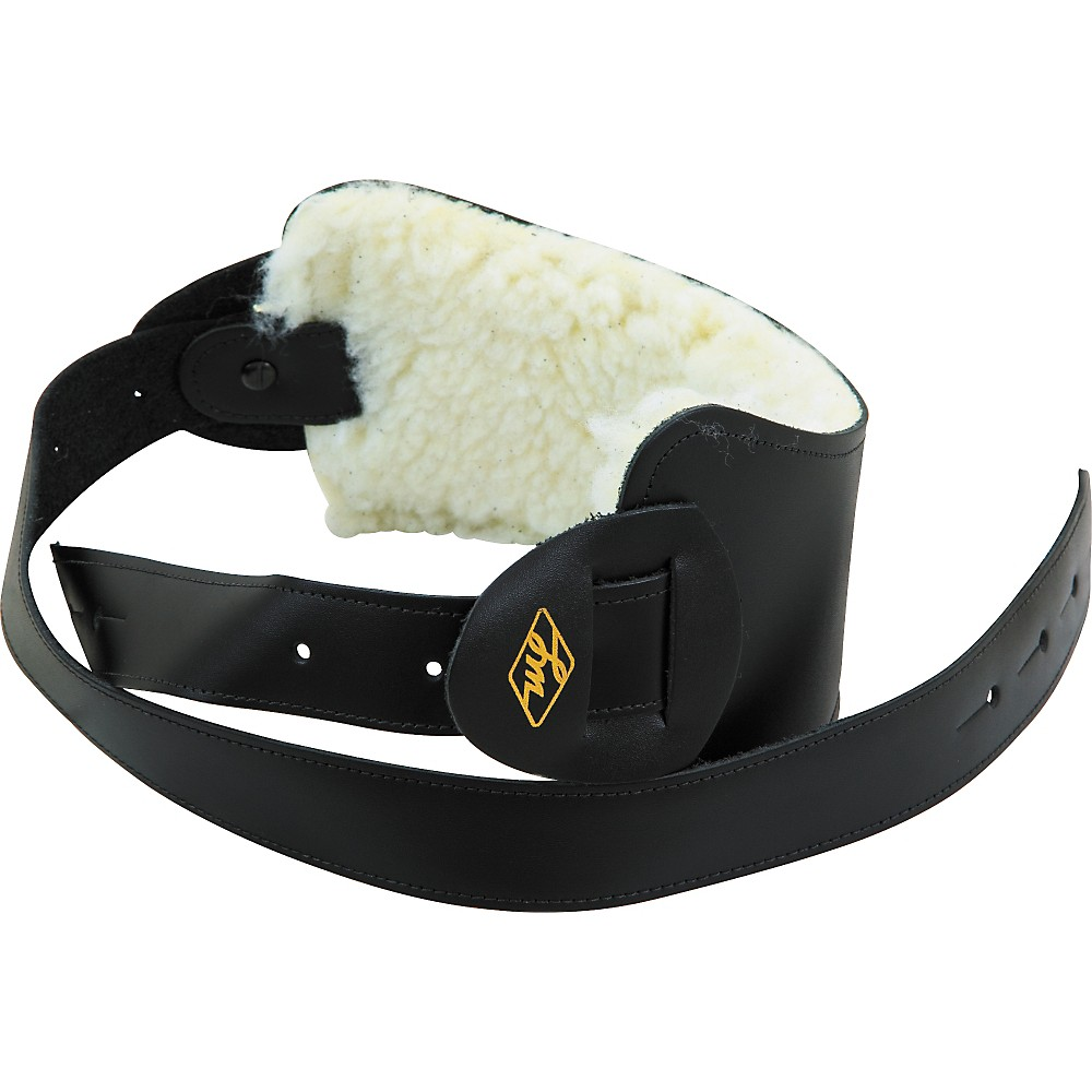 LM Products Leather Bass Strap with Extra Wide Pad Black