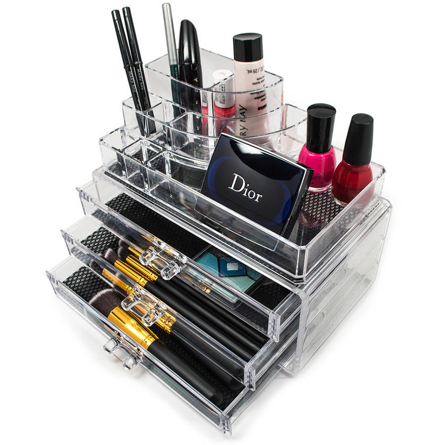 Sorbus Acrylic Cosmetics Makeup and Jewelry Storage Case Display, 3 Large Drawers, Space-Saving, Great for Lipstick, Eye Liner, Nail Polish, Brushes, Jewelry and More