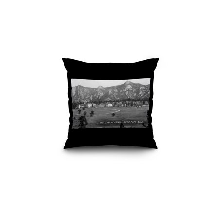Estes Park  Colorado   Exterior View Of The Stanley Hotel  16X16 Spun Polyester Pillow  Black Border