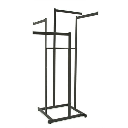 Clothing Rack – Black 4 Way Rack, High Capacity, Blade Arms, Square Tubing, Perfect for Clothing Store Display With 4 Straight Arms Econocos 4 arm clothing rack is the premiere clothing rack for store display! This fixture for clothing has 4 straight blade arms. This allows for any store to place their clothing on this clothing store display rack any way that best fits their needs. With the arm height being adjustable on this clothing rack it allows the customer to put the arm anywhere from 48 to 72 with 3 increments. Not only does this 4-arm clothing rack have adjustable arms but it is chrome plated for the ultimate showroom look. With this chrome 4-way clothing rack it adds to the ambiance of any store or boutique that you choose to place this clothing rack. With the clothing rack weighing 30 pounds you can rest assured no matter where you place this clothing rack that it will stay put where it is meant to. With this clothing store rack having four arms you can easily place a dozen items of clothing on this rack, and have it displayed and readjusted to whatever needs fit your store the best!
