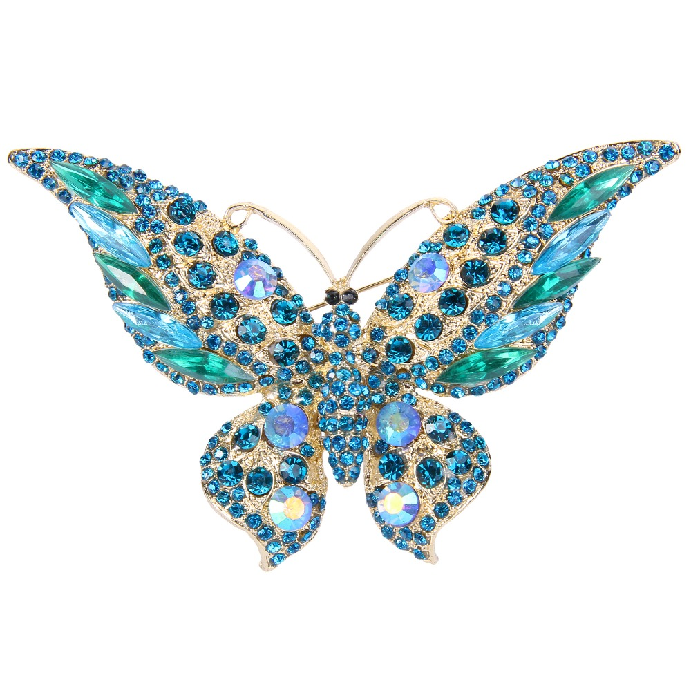 AIMO Gold-Tone Austrian Crystal 4 Inch Charming Butterfly Brooch Green w  Blue by