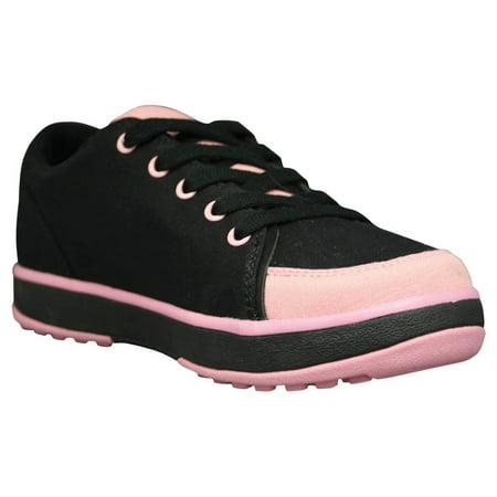 USA Dawgs WCG1742 DAWGS Womens Canvas Golf Crossover Shoe - Black-Soft Pink - Size 5