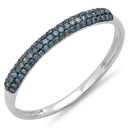 Dazzlingrock Collection 0.20 Carat (ctw) 10k Round Blue Diamond Ladies Bridal Anniversary Wedding Band Stackable Ring 1/5 CT, White Gold, Size 8.5