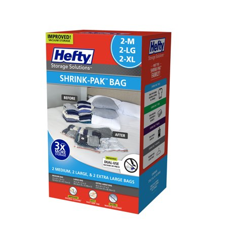 Hefty Shrink-Pak Vacuum Seal Bags, 2 Medium, 2 Large and 2 X-Large
