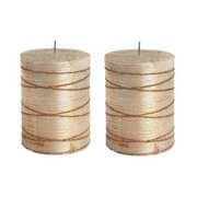 """3"""" x 4"""" Brushed Bronze Pillar Candle With Glitter lines (Set of 2)"""