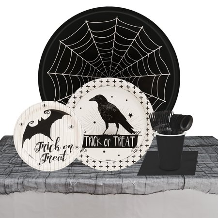 Halloween Party Trick or Treat Raven 32 Guest Tableware Kit