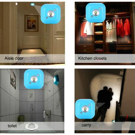 LED Motion Sensor Night Light, Mini Wireless Ceiling Night Lamp, Battery Powered Porch Cabinet Lamps with Infrared Motion Sensor + Light Control - image 6 de 8