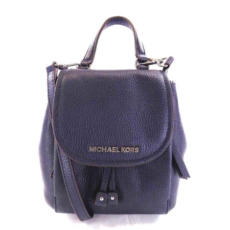 NEW WOMEN'S MICHAEL KORS RILEY NAVY LEATHER SMALL FLAP PACK CROSSBODY HAND BAG