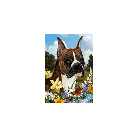 Boxer Brindle Cropped - Best of Breed Summer Flowers Garden Flags
