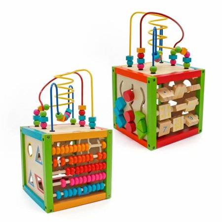 Large Activity Cube Toys Baby Educational Wooden Bead Maze Shape Sorter for Boy and Girl