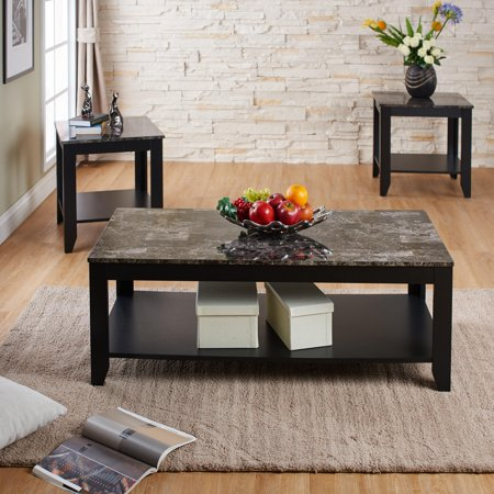 logan open shelf granite top coffee table set