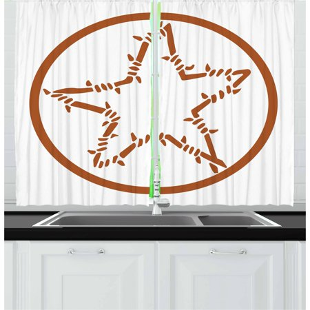 Texas Star Curtains 2 Panels Set, Barbed Wire Style Star in a Circle Western Themed Monochrome Motif Borders, Window Drapes for Living Room Bedroom, 55W X 39L Inches, Brown and White, by Ambesonne