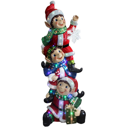 "National Tree 59"" Stacking Elves Holding Snowflake with Glossy and Metallic Finish, Multi Color LED Lights, Indoor/Outdoor"
