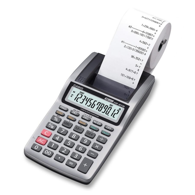 Casio Handheld Printing Calculator - Single Color Print - 1.6 lps - 12 Digits - LCD - AC Supply Powered - 1 Each