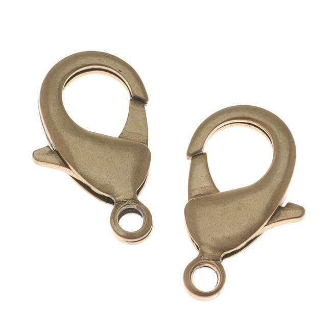 Antiqued Brass Lobster Clasps EXTRA Extra Large 27mm (2)