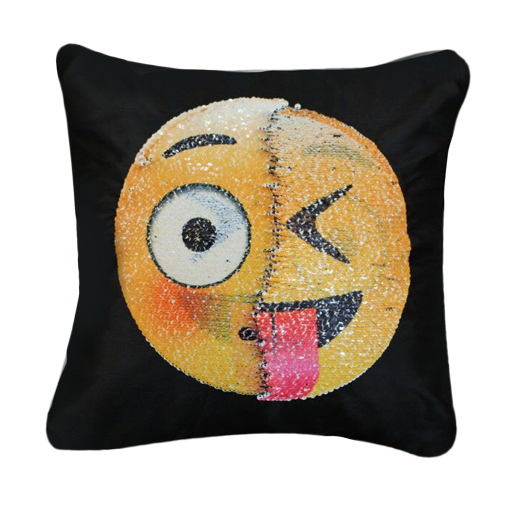 Cute Pillowcase, Changing Face Emoji Pillows Cover Sequin Pillow Smile Face Pillowcase by