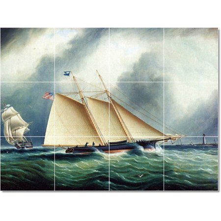 Ceramic Tile Mural James Buttersworth Ship Boat Painting 142 17 w x 1