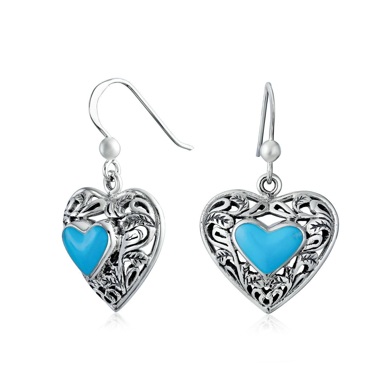 French Hook Earrings 8mm Turquoise Set in Sterling Silver Dangle Earrings Turquoise Sterling Silver Drop Earrings
