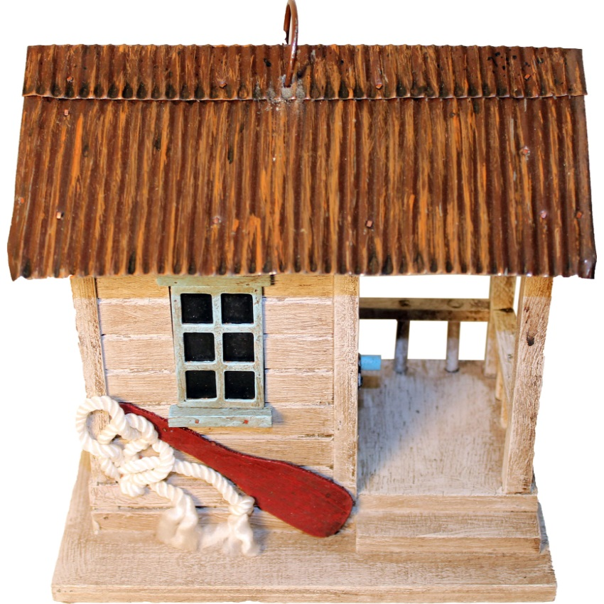 Songbird Essentials-Songbird Boat Shack Bird House- Brown/tan 7.6x5.6x7.6