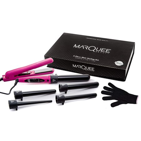 MarQuee Beauty Deluxe Professional Beauty 8 Piece Interchangeable Flat and Curling Iron Set - Instant Hair Straightener, Professionally Curl Your (Best Straightener To Curl Your Hair With)
