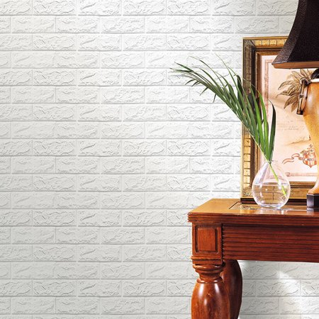 Purple Geometric Wallpaper (1PC PE Foam 3D Wallpaper DIY Wall Stickers Wall Decor Embossed Brick Stone)