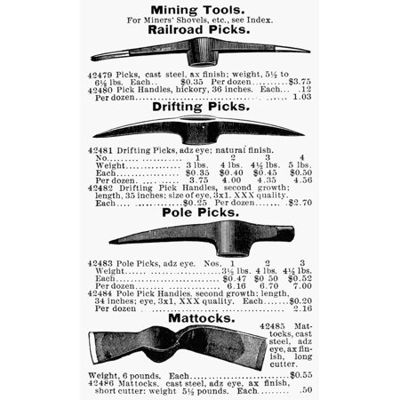 Mail Order Catalog (Mining Tools Nadvertisement For Mining Tools From A 19Th Century American Mail-Order Catalog Rolled Canvas Art -  (24 x 36) )