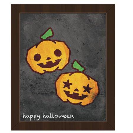 Click Wall Art 'Happy Halloween Pumpkins' Framed Graphic Art on Canvas (Happy Halloween Clip Art)
