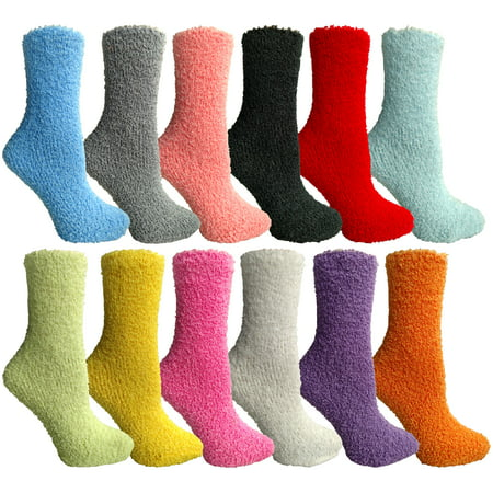 12 Pairs of excell Womens Solid Colored Fuzzy Socks (Assorted Colors, Size 9-11)](Fuzzy Boa)