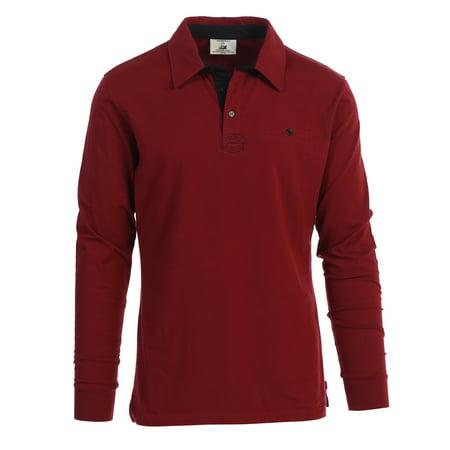 Gioberti Men's Contrast Collar Long Sleeve Polo Shirt Adidas Contrast Collar Jersey