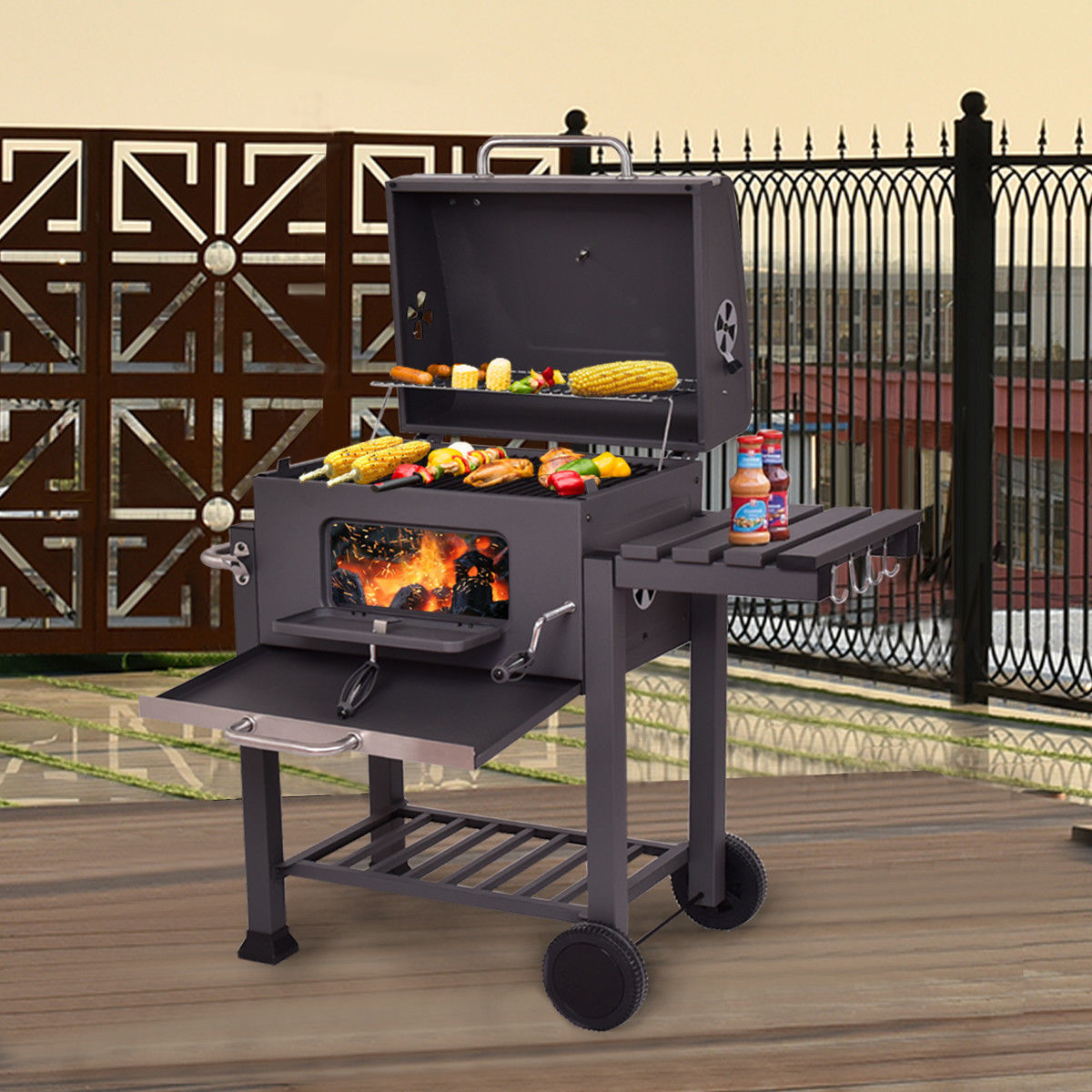 Costway Charcoal Grill Barbecue BBQ Grill Outdoor Patio Backyard Cooking Wheels Portable by Costway