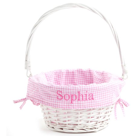 Personalized White Wicker Easter Basket with Pink Liner