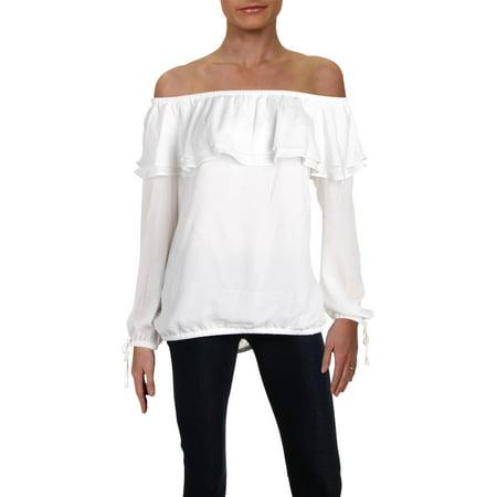fb5a6d188e01a MICHAEL Michael Kors - MICHAEL Michael Kors Womens Off-The-Shoulder Flounce Peasant  Top - Walmart.com